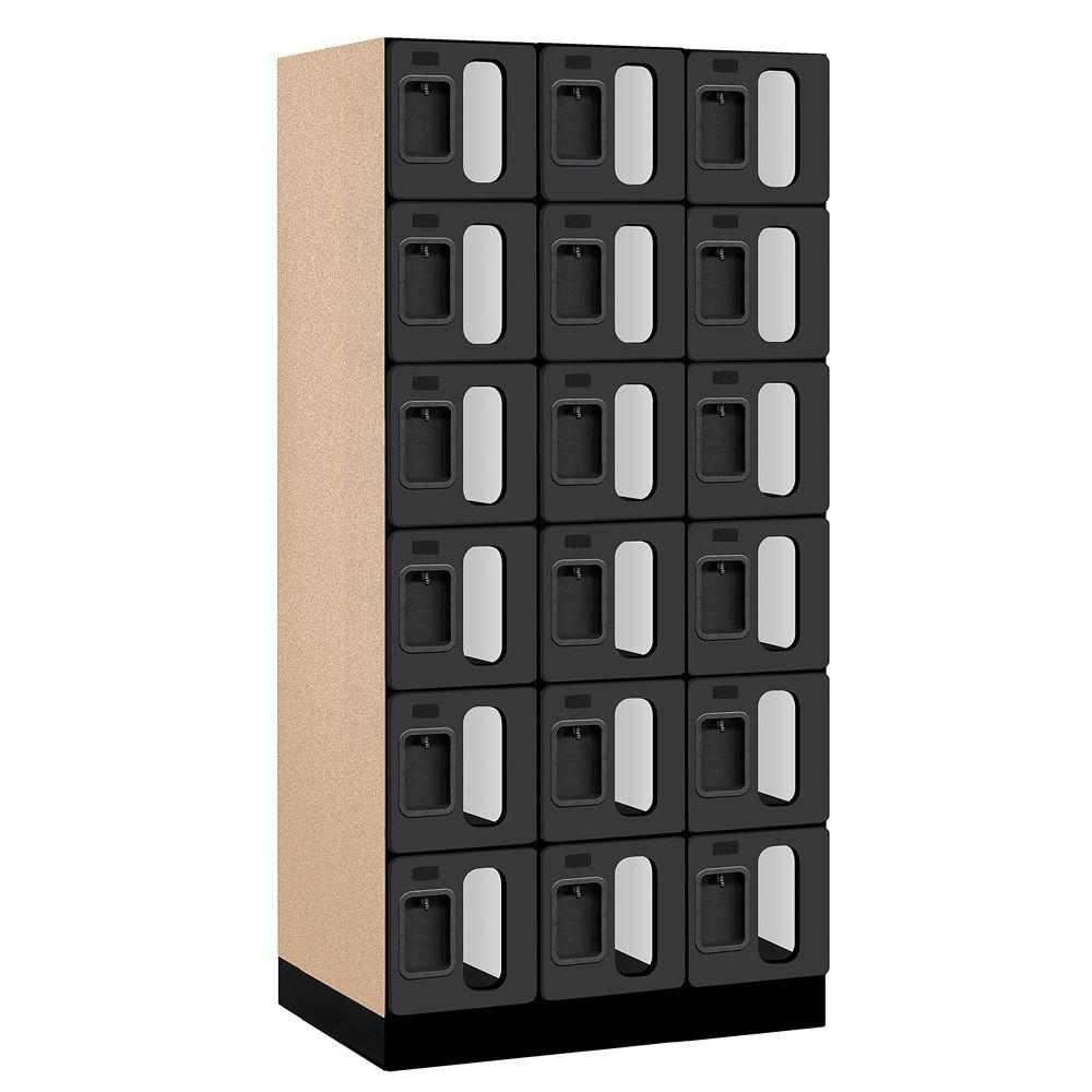 Salsbury Industries S-36000 Series 36 in. W x 76 in. H x 21 in. D 6-Tier Box Style See-Through Designer Wood Locker in Black