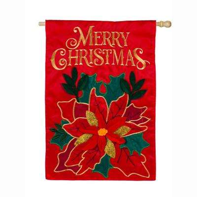 28 in. x 44 in. Christmas Poinsettia House Applique Flag