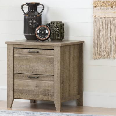 Lionel 2-Drawer Weathered Oak Nightstand