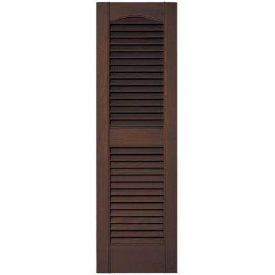 12 in. x 39 in. Louvered Vinyl Exterior Shutters Pair in #009 Federal Brown