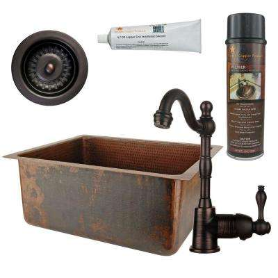 All-in-One Dual Mount Copper 20 in. 0-Hole Kitchen/Bar/Prep Single Bowl Sink in Oil Rubbed Bronze