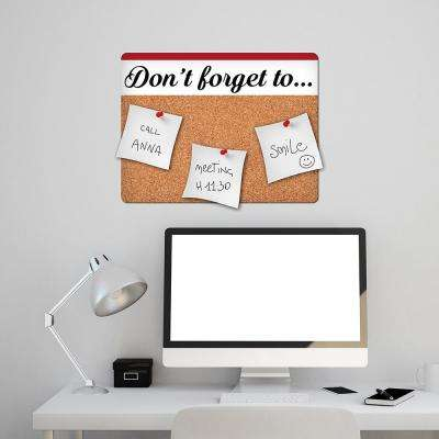 22.5 in. x 16.6 in. Brown Don't Forget Cork Pin Board Decal
