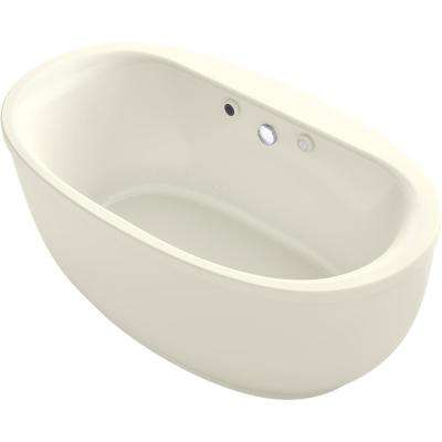 Sunstruck 60 in. Acrylic Flatbottom Air Bath Bathtub with Fluted Shroud and Basked Heated Surface in Biscuit