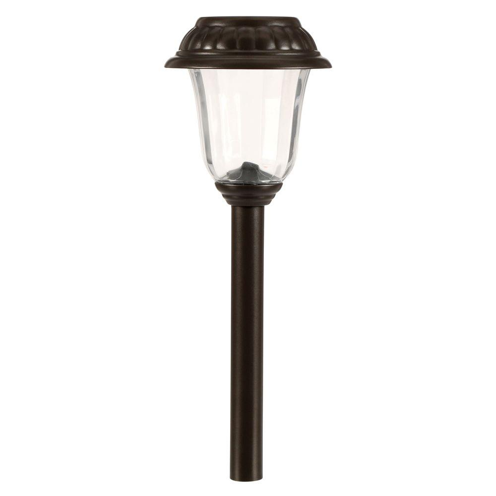 Hampton bay solar charcoal brown integrated led landscape for Led yard lights