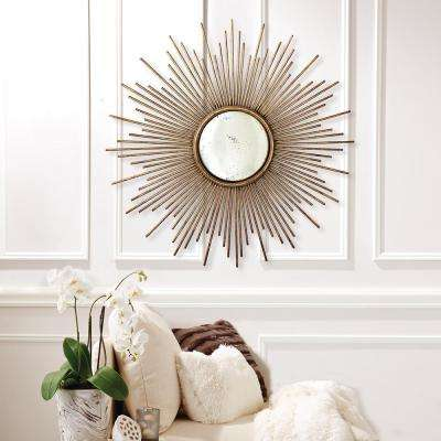 39-3/4 in. Dia Sunburst Antiqued Gold Wall Mirror