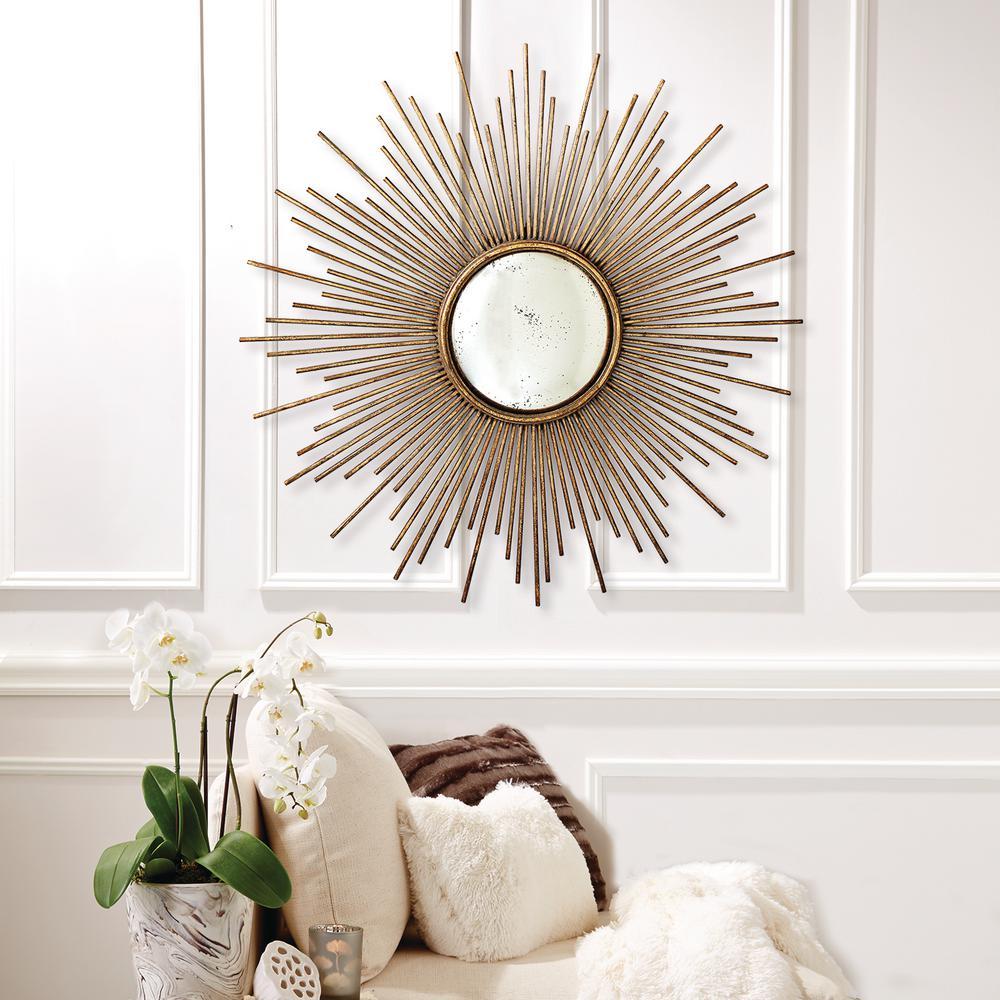 Two's Company 39-3/4 in. Dia Sunburst Antiqued Gold Wall Mirror ...