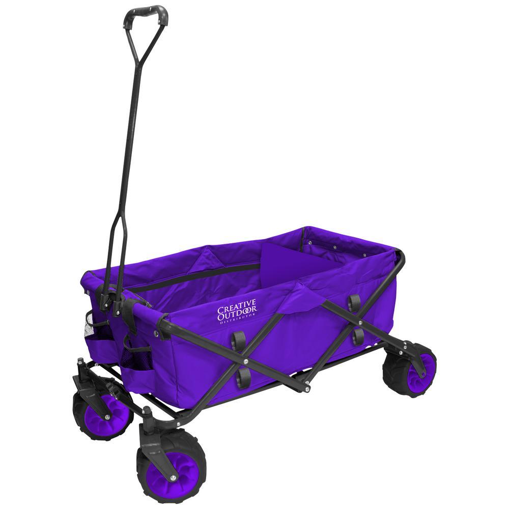 7 cu. ft. Folding Garden Wagon Carts in Purple