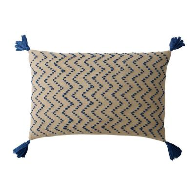 Embroidered Blue Chevron 16 in. x 24 in. Decorative Throw Pillow Cover