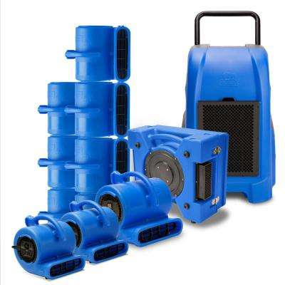 1 Commercial Dehumidifier, 1 Air Scrubber, 8 Air Mover, 2 Mini Air Mover Water Contractor Pack