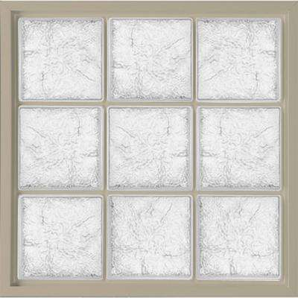 31.5 in. x 31.5 in. Glass Block Fixed Vinyl Windows Ice Pattern Glass - Tan