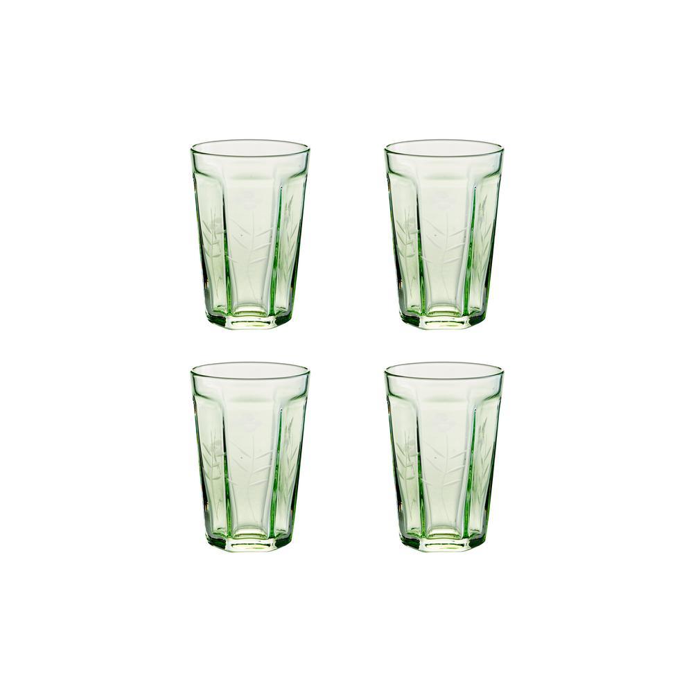 Arcadia 6 oz. 4-Piece Green Etched Bistro Glass