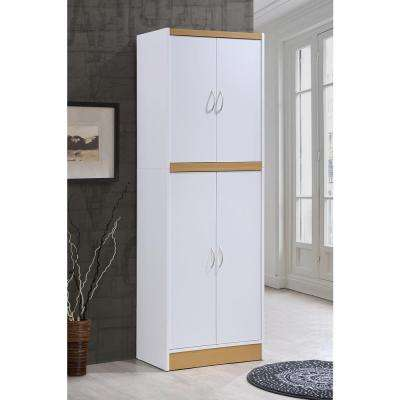 4-Door White Kitchen Pantry
