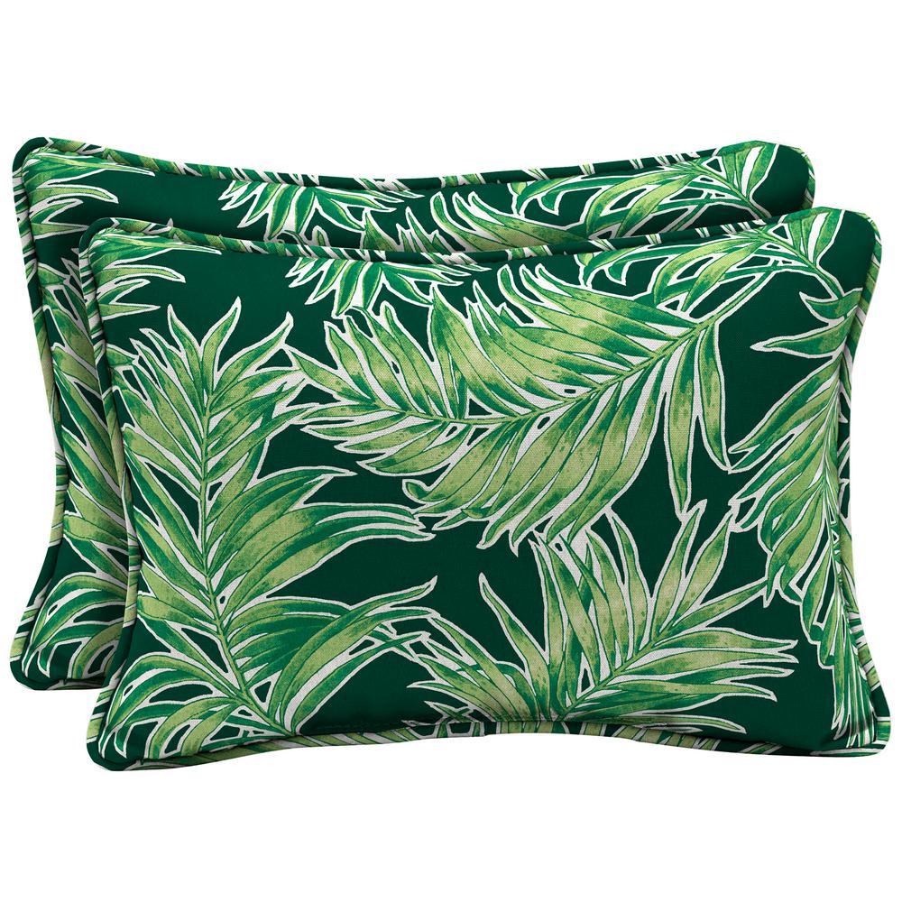 Arden Selections 22 x 15 Emerald Quintana Tropical Oversized Lumbar Outdoor Throw Pillow (2-Pack)