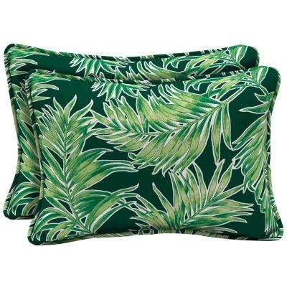 22 x 15 Emerald Quintana Tropical Oversized Lumbar Outdoor Throw Pillow (2-Pack)