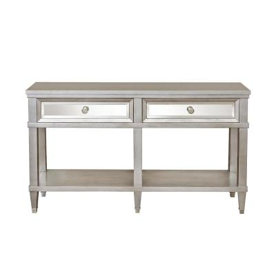 Tan 2-Drawer Mirrored Front Entryway Console Table