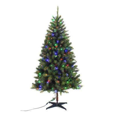 6.5 ft. Pre-Lit LED Festive Pine Artificial Christmas Tree with 250 Multi-Color Lights