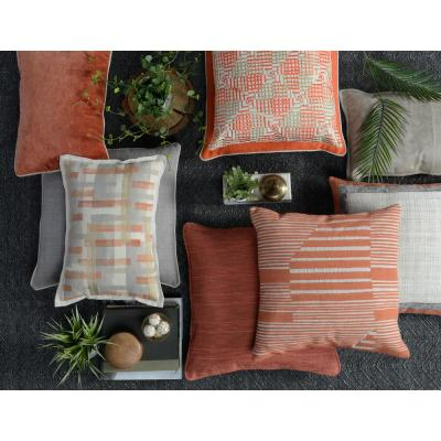 22 in. x 22 in. Levi Orange Linen Embroidery Decorative Pillow