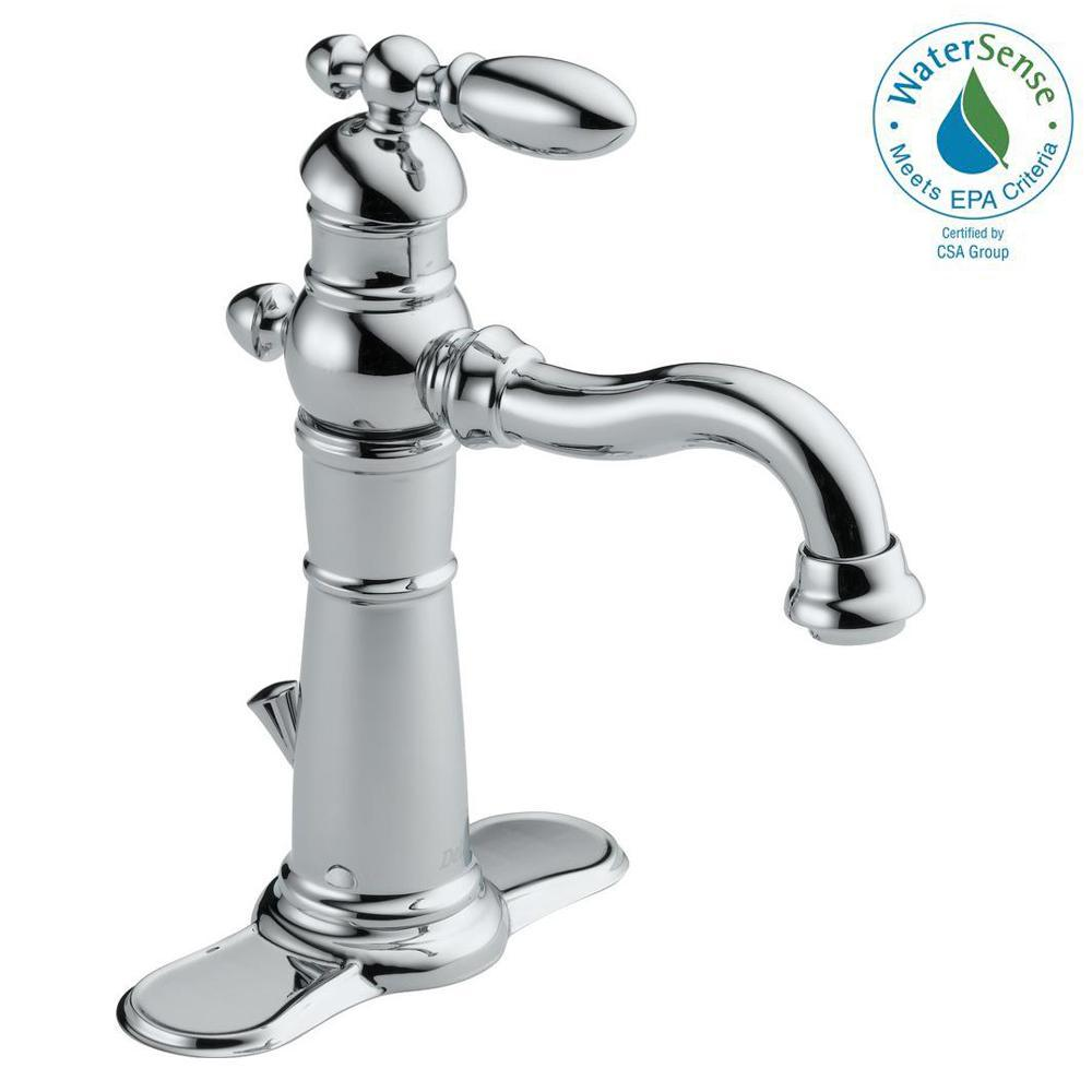 Delta Victorian Single Hole Single Handle Bathroom Faucet With Metal Drain  Assembly In Chrome