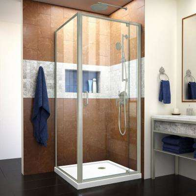 Flex 32 in. x 32 in. x 74.75 in. Corner Framed Pivot Shower Enclosure in Brushed Nickel with White Acrylic Base