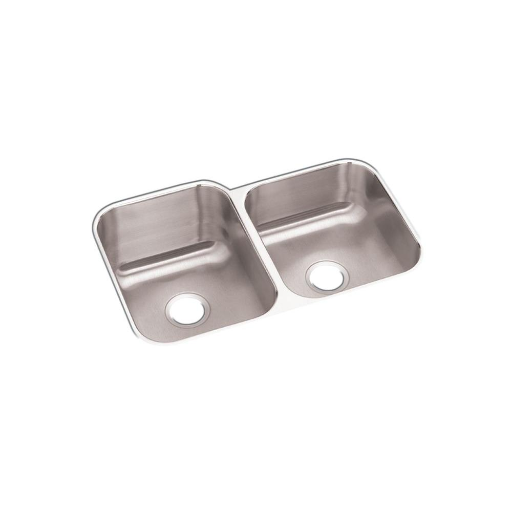 Undermount Stainless Steel 32 in. Offset Double Bowl Kitchen Sink