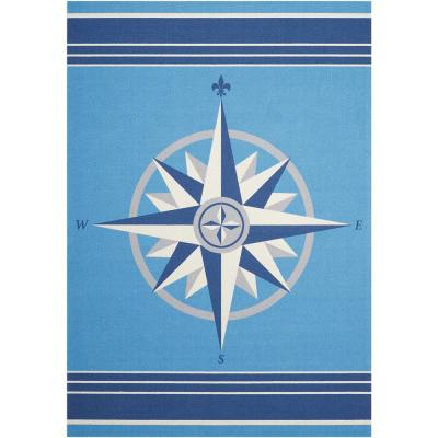 Sailing Blue 10 ft. x 13 ft. Solid Transitional Indoor/Outdoor Area Rug