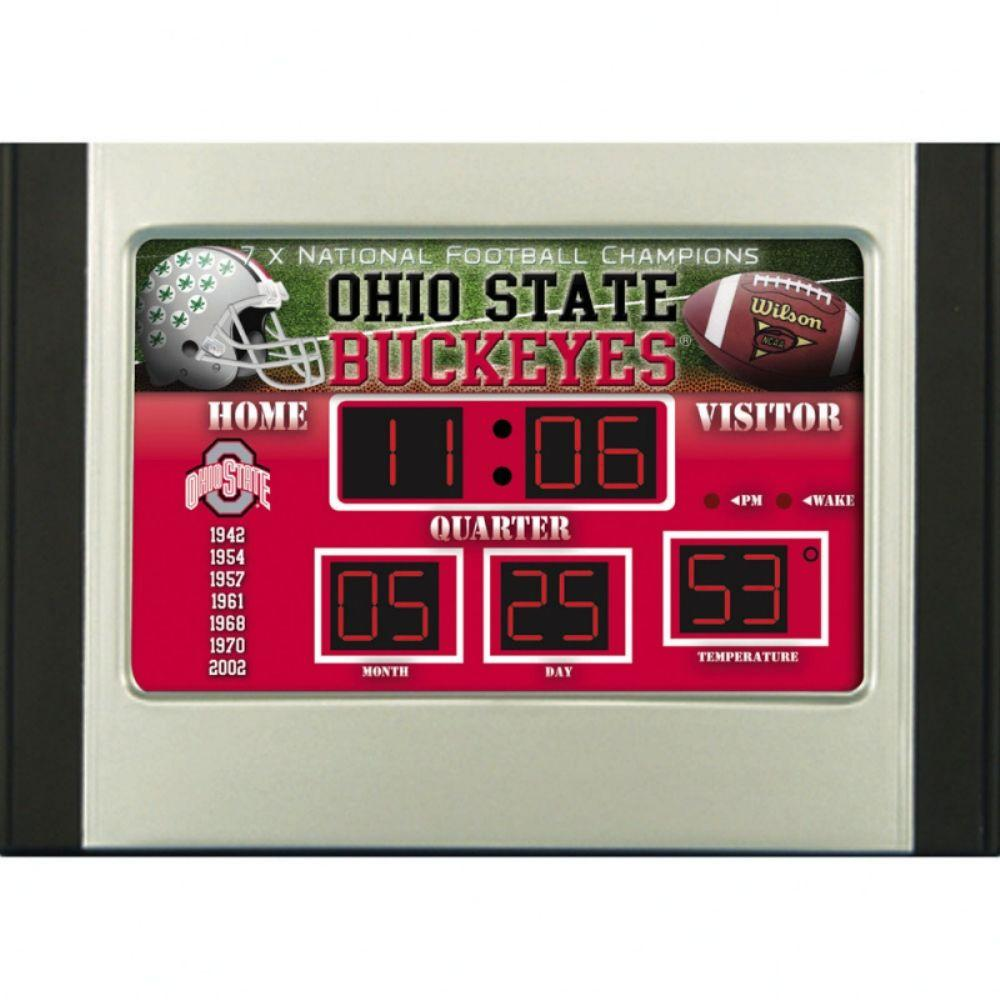 null Ohio State University 6.5 in. x 9 in. Scoreboard Alarm Clock with Temperature-DISCONTINUED
