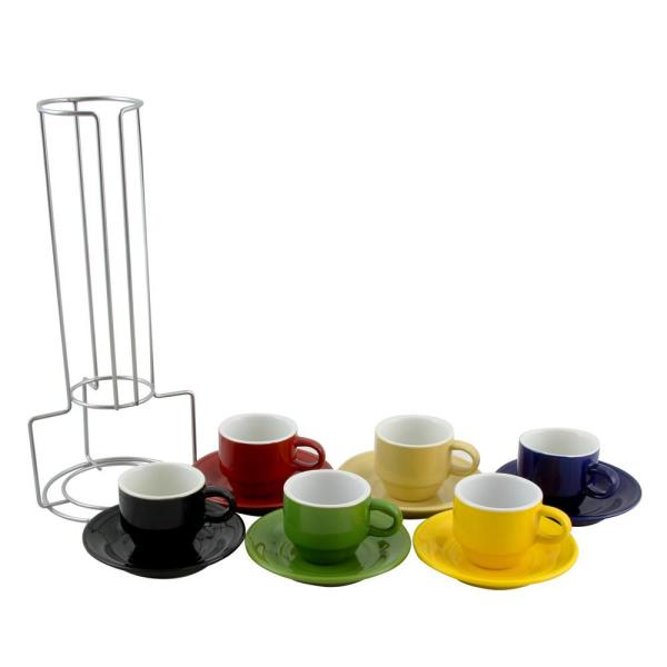 Gibson Sensations 2.5 oz. Assorted Color Ceramic Espresso Cups with Saucers (Set of 6)