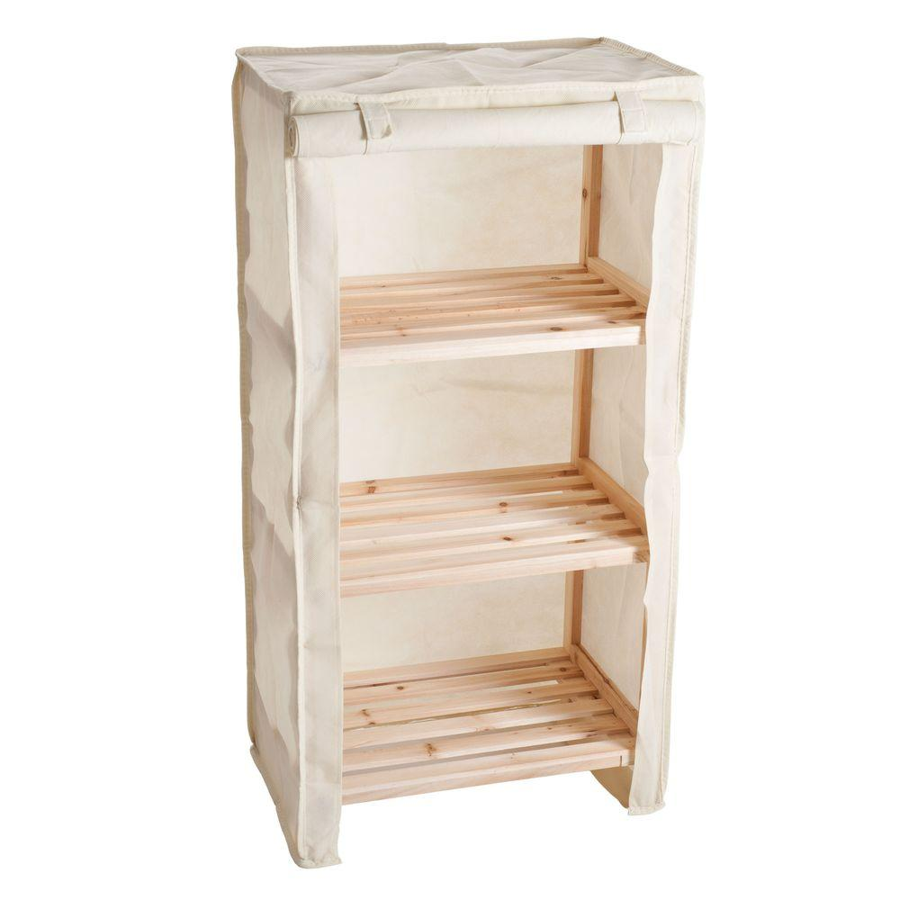 3-Tier Light Wood Shelf with Removable Cover