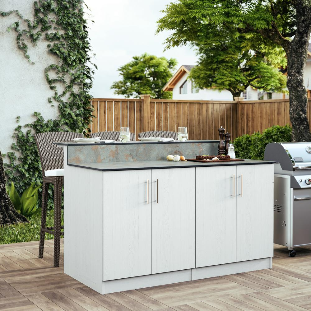 WeatherStrong Miami 59.5 in. Outdoor Bar Cabinets with Countertop 4 Full  Height Doors in White