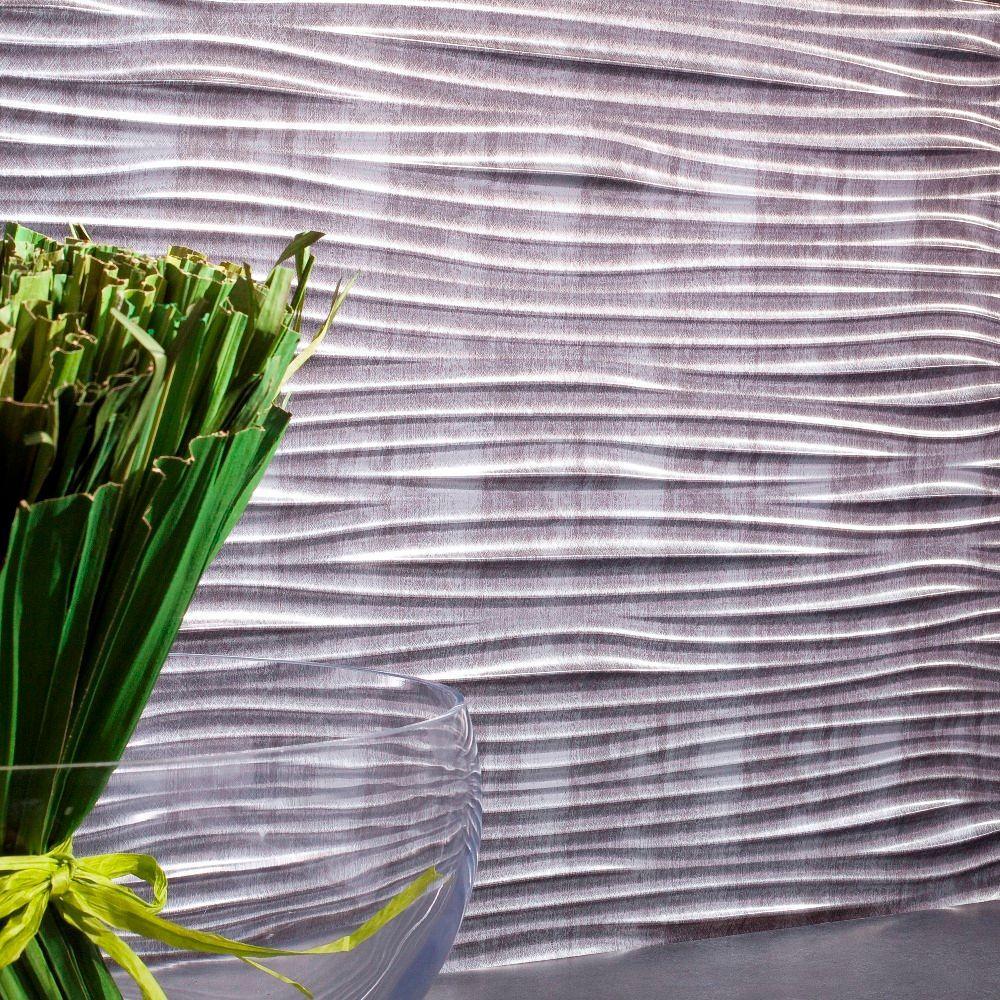 Fasade 24 in. x 18 in. Waves PVC Decorative Tile Backsplash in Crosshatch Silver