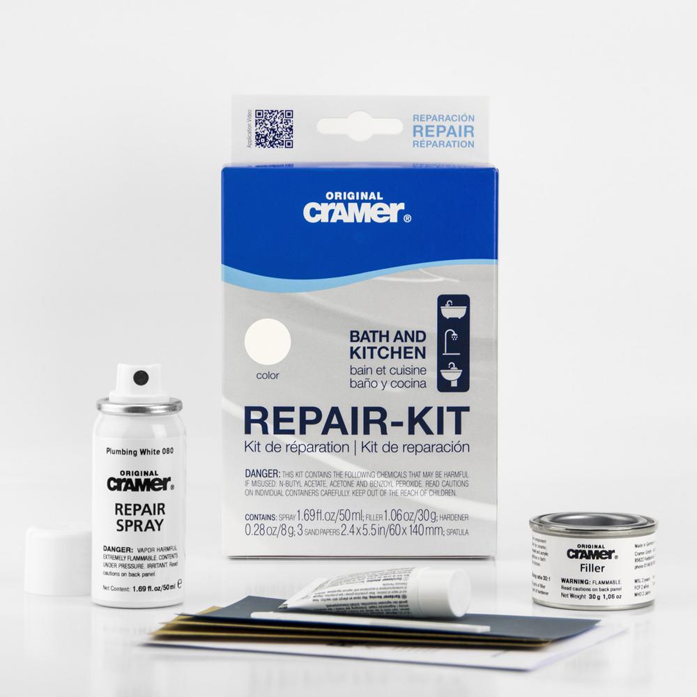 Repair-Kit Plumbing White: Filler 30 g, Hardener 8 g, Repair-Spray 50 ml, Spatula 3-Sandpapers