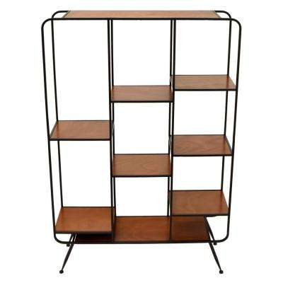 35.5 in. x 9.75 in. Wood and Metal Shelf - Brown in Brown
