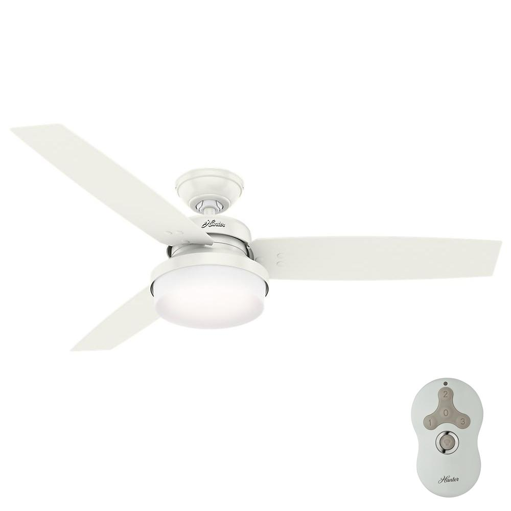 Led Indoor Fresh White Ceiling Fan With Light Kit And Universal