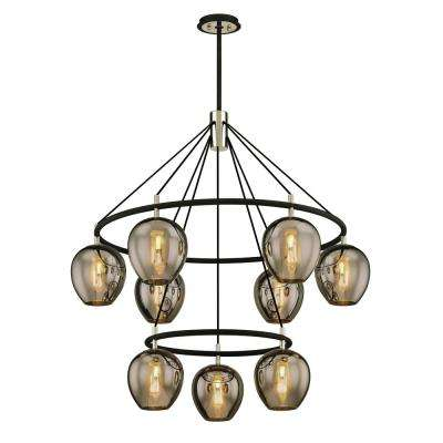 Iliad 9-Light Carbide Black 40 in. W Pendant with Plated Smoke Glass