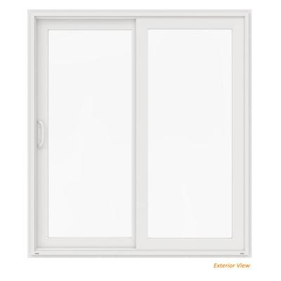 72 in. x 80 in. V-4500 White Vinyl Left-Hand Full Lite Sliding Patio Door
