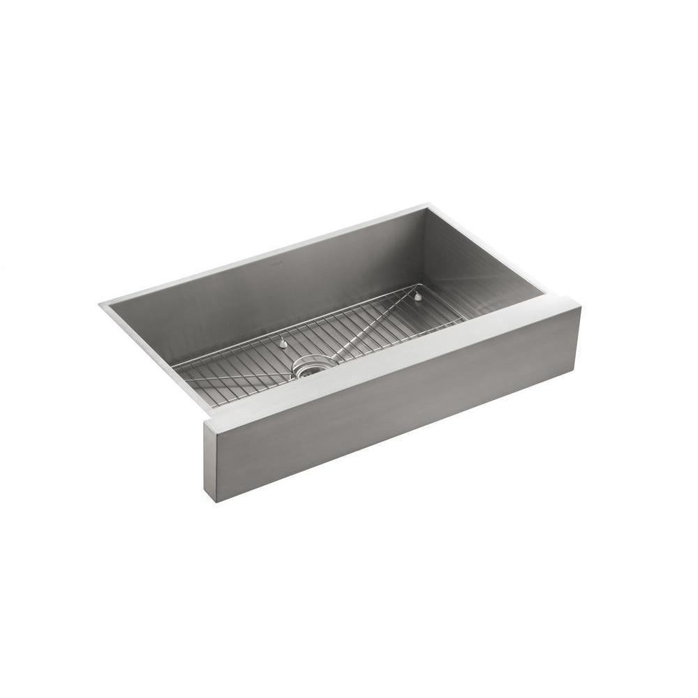 Vault Undermount Stainless Steel 36 in. Single Basin Kitchen Sink Kit