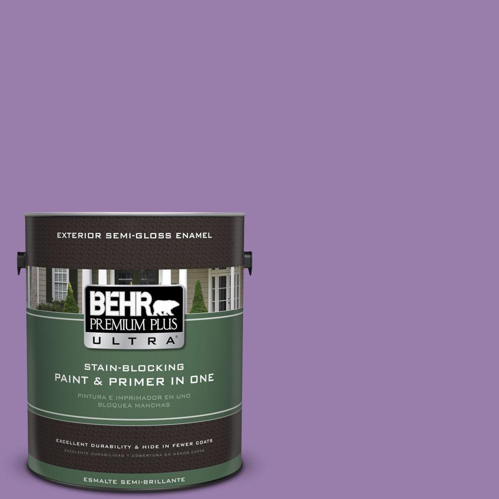 BEHR Premium Plus Ultra 1-gal. #650B-6 Elite Wisteria Semi-Gloss Enamel Exterior Paint