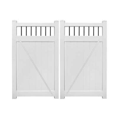 Bradford 7.4 ft. W x 5 ft. H White Vinyl Privacy Double Fence Gate