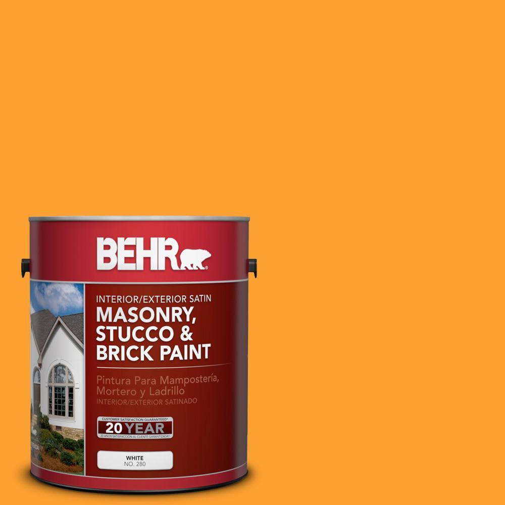 1 gal. #P250-7 Blazing Bonfire Satin Interior/Exterior Masonry, Stucco and Brick Paint