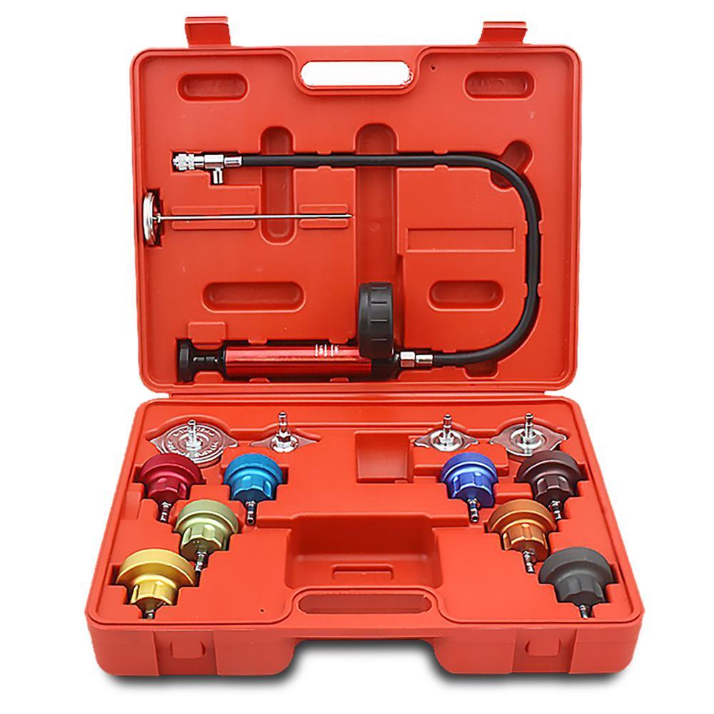 14-Piece Radiator Pump Pressure Leak Tester and Vacuum Type Kit Aluminum Adapters with Case