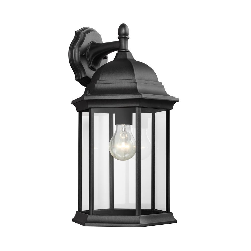 Sea gull lighting sevier 1 light black outdoor wall mount lantern 8438701 12 the home depot for Exterior wall mounted lanterns