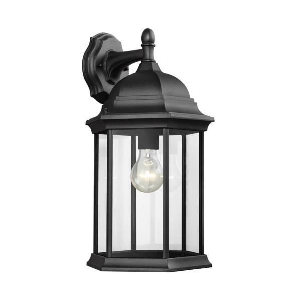 Sevier 1-Light Black Outdoor 18.75 in. Wall Lantern Sconce