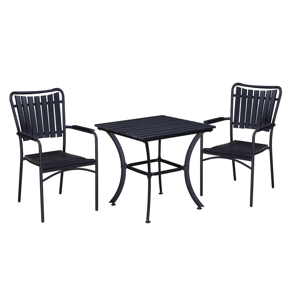 Modern Contemporary Black 3 Piece Metal Square Outdoor Dining Set With Faux  Wood