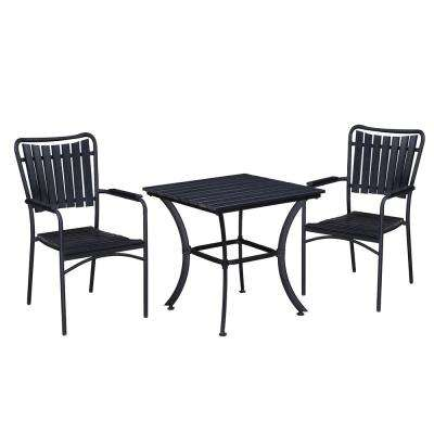 Modern Contemporary Black 3-Piece Metal Square Outdoor Dining Set with Faux Wood