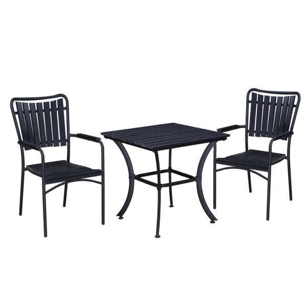 Unbranded Modern Contemporary Black 3 Piece Metal Square Outdoor Dining Set With Faux Wood Hd904 715 2 Bk The Home Depot