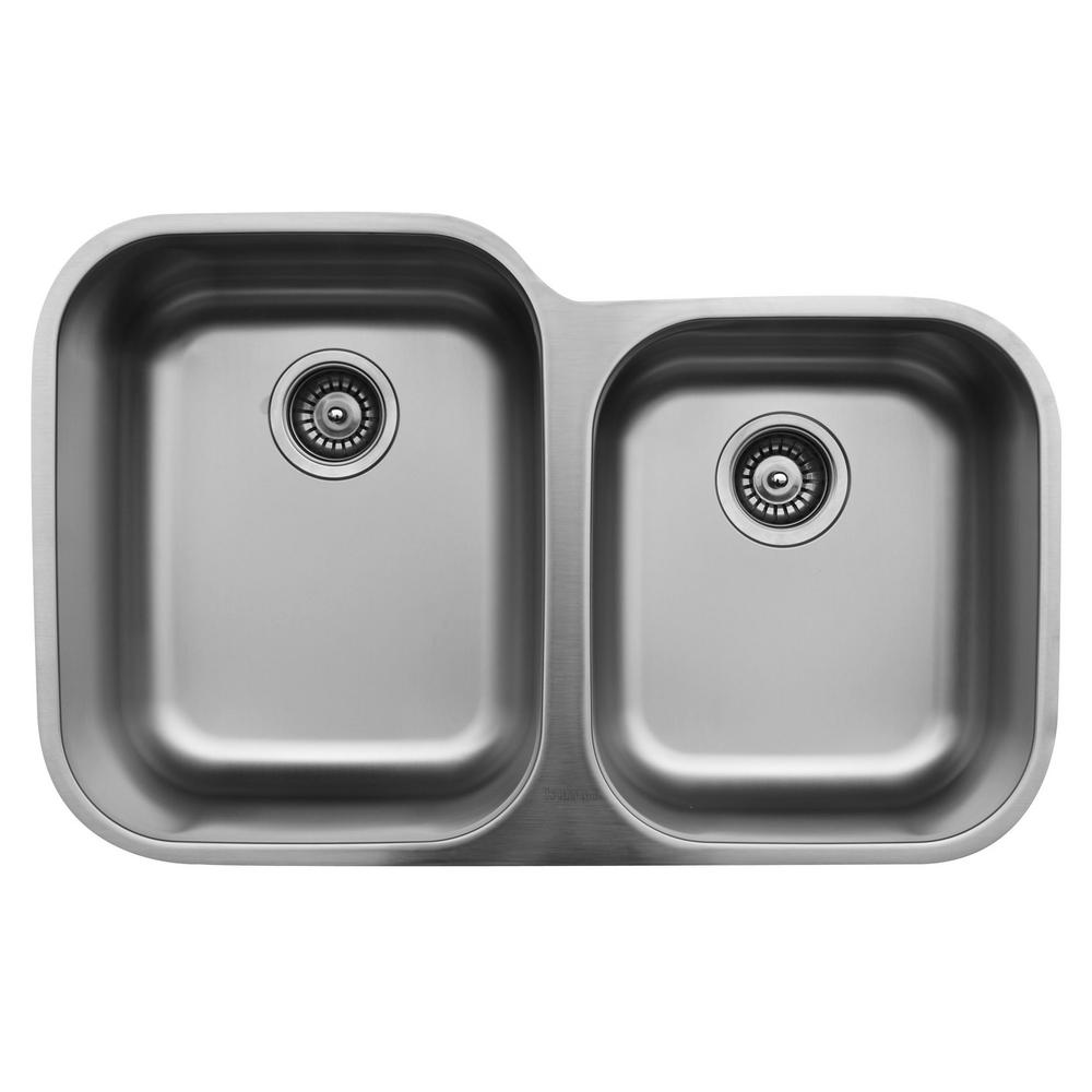 karran undermount stainless steel 32 in  double bowl kitchen sink karran u 6040r   the home depot karran undermount stainless steel 32 in  double bowl kitchen sink      rh   homedepot com