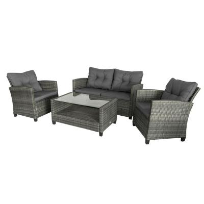 Grey 4-Piece Iron Plastic Rattan Patio Furniture Set with Grey Cushions, 2 Single Chairs, 1 Double Sofa, and 1 Tea Table