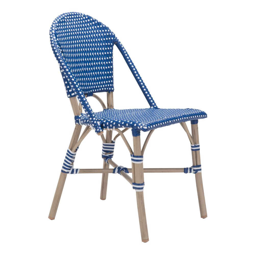 zuo paris white patio dining chair in navy blue pack of 2 703804