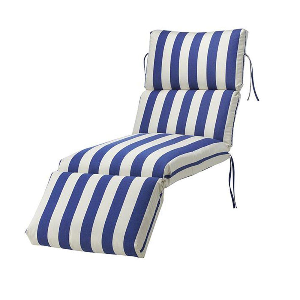 Home Decorators Collection Sunbrella Maxim Riviera Bull-Nose Outdoor Chaise Lounge Cushion
