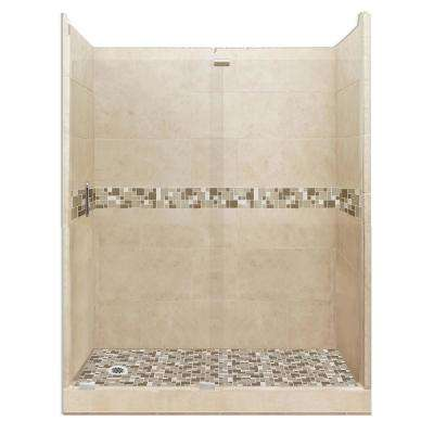 Tuscany Grand Slider 32 in. x 60 in. x 80 in. Left Drain Alcove Shower Kit in Brown Sugar and Satin Nickel Hardware